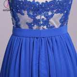 Elegant Strapless Chiffon Evening Dress with Lace Appliques, Long Prom Dress KPP0575