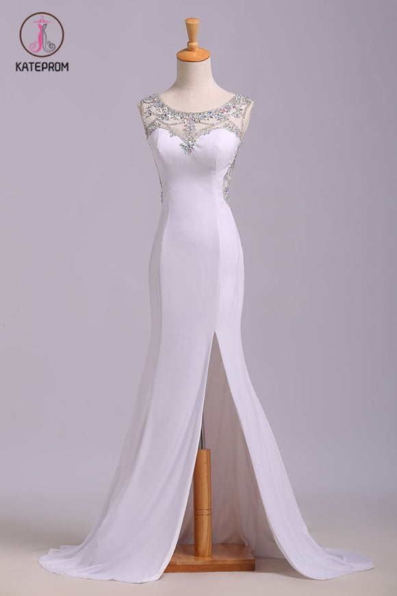 White Mermaid Sleeveless Split Prom Dress with Sequins, Sweep Train Dress with Rhinestones KPP0576