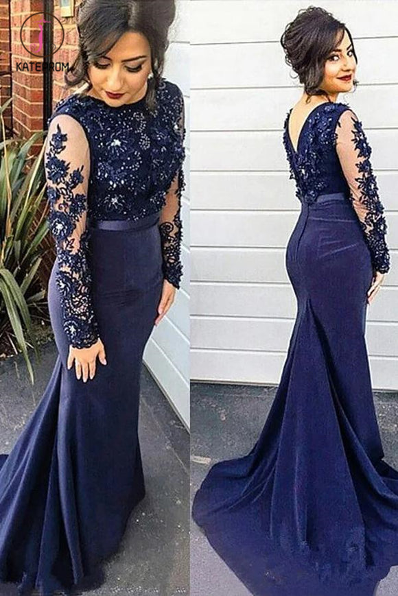 Dark Blue Mermaid Long Sleeve Lace Appliques Prom Dress, Plus Size Long Evening Dress KPP0583