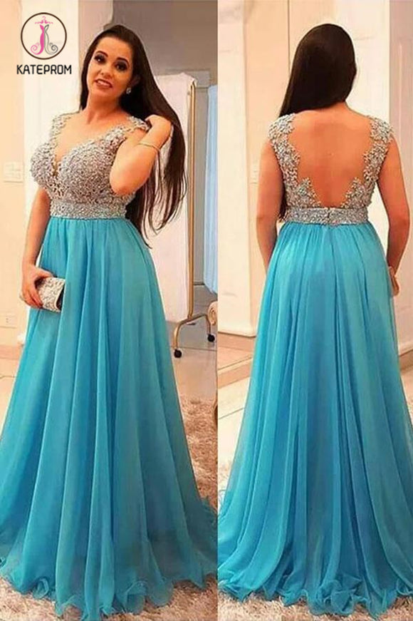 A-Line V-neck Sleeveless Beading Brush Train Chiffon Plus Size Prom Dresses KPP0584