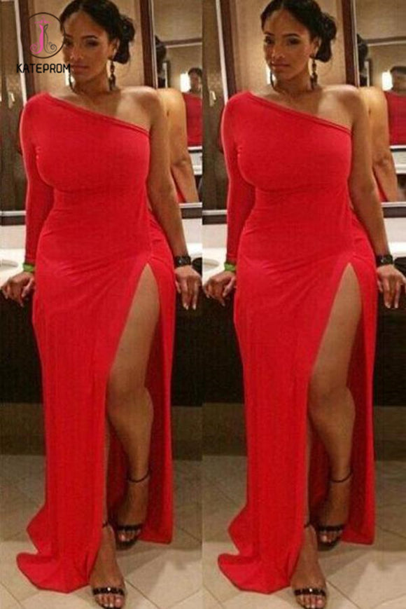 Sheath Long Sleeves One Shoulder Split Floor Length Prom Dress, Sexy Red Evening Dress KPP0585
