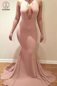 Sexy Mermaid Ruffles Sleeveless Sweep Train Plus Size Evening Dresses with Keyhole KPP0586