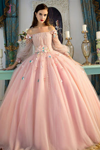 Off-the-Shoulder Long Sleeves Ball Quinceanera Dress With Flowers, Prom Dress KPP0589