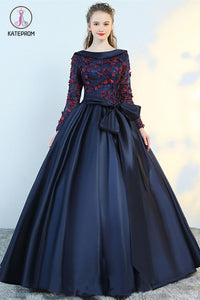 Puffy Flower Applique Floor Length Long Sleeve Satin Party Dress With Bowknot KPP0590
