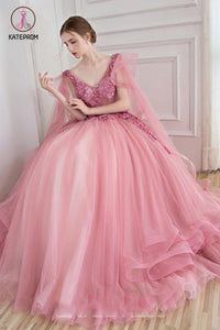 Ball Gown V-Neck Appliques Beading Floor-Length Quinceanera Ball Gown Tulle Prom Dress KPP0591