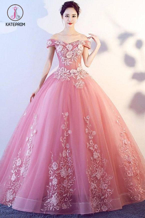 Floor Length Off-the-Shoulder Short Sleeves Appliques Tulle Quinceanera Dress KPP0592