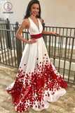 A-Line Deep V-Neck Floral Satin Prom Dress with Beading, Sweep Train Evening Dress KPP0594