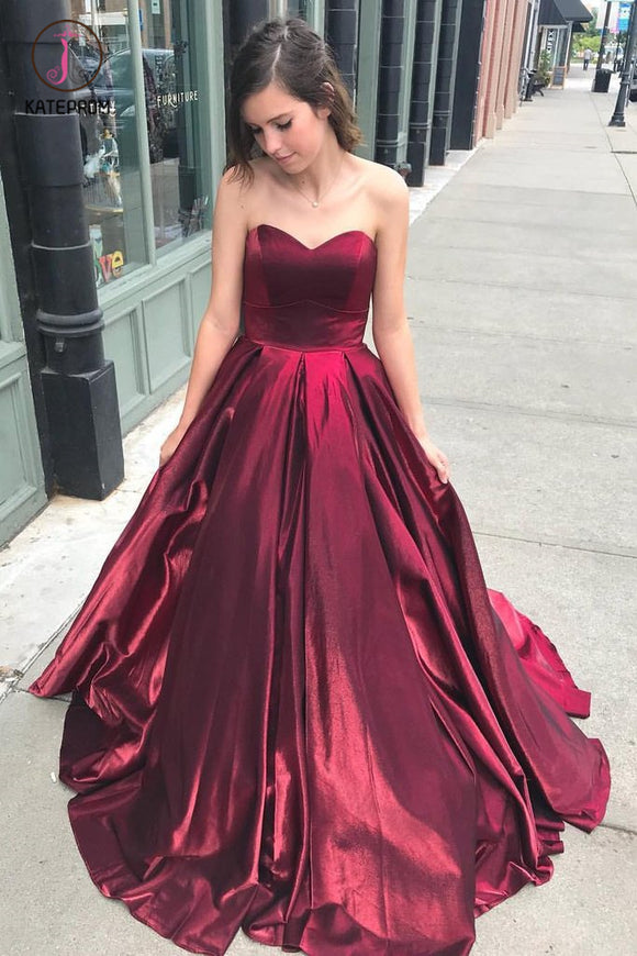 Cheap Burgundy Sweetheart Long Prom Dress, Simple Puffy Formal Dress KPP0595