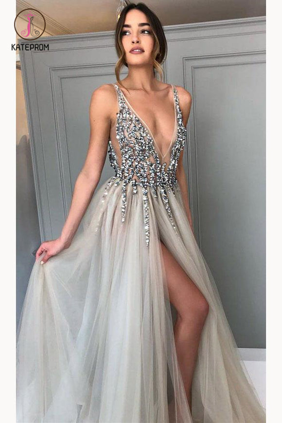 Gray Sequined Deep V Neck Prom Dress with Left Slit, A Line Tulle Evening Dress KPP0599