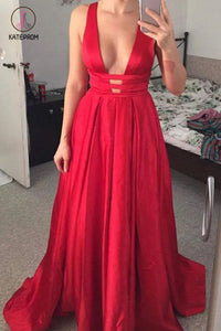 Unique V Neck Red Sleeveless Long Prom Dress, A Line Evening Dress with Open Back KPP0600
