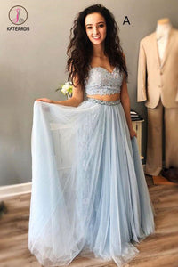 Light Blue Straps Mismatched Lace Tulle Prom Dresses, Floor Length Evening Dress with Beads KPP0609