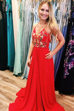 Red Chiffon Long Prom Dress with Side Slit, Embroidery Applique Long Evening Dress KPP0611