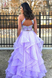 Two Pieces A-Line Lace Top Open Back Organza Sleeveless Prom Dresses, Evening Dress KPP0613