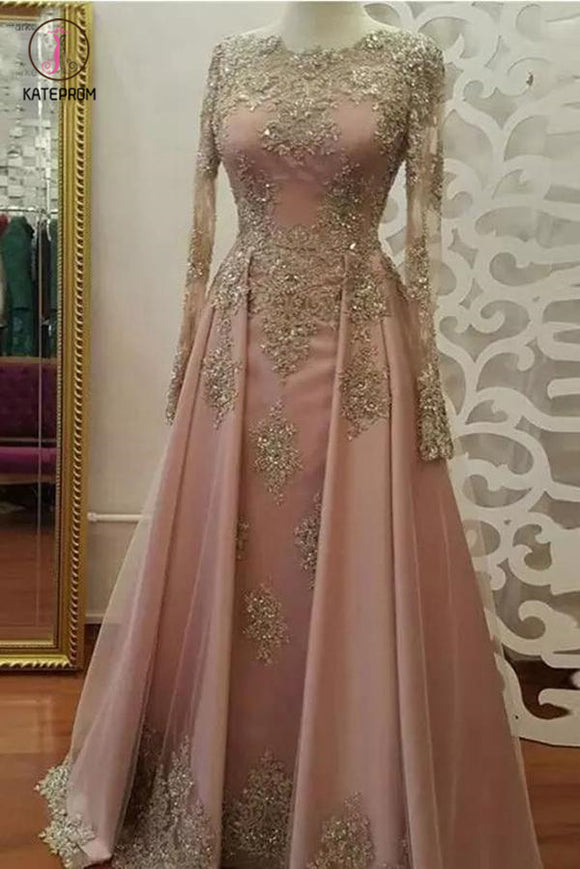 Floor Length Long Sleeves Prom Dress with Gold Appliques, Beaded Evening Dresses KPP0614