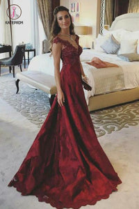 A Line V Neck Sleeveless Appliques Prom Dresses, Dark Red Popular Evening Dresses KPP0615
