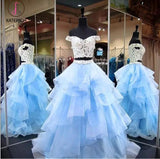 Two Piece Off-the-Shoulder Tiered Blue Tulle Long Prom Dress with Lace KPP0617