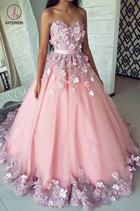 Puffy Sweetheart Tulle Prom Dress with Flowers, Princess Sweep Train Appliqued Party Dress KPP0618