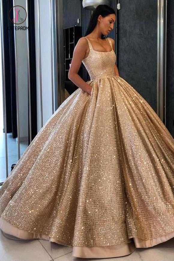 Gold Ball Gown Sequined Prom Dress with Pockets, Long Square Quinceanera Dresses KPP0619
