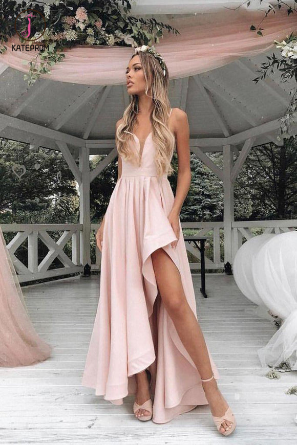 Simple Light Pink Asymmetrical Prom Dress, Sexy Spaghetti Strap Bridesmaid Dress KPP0623