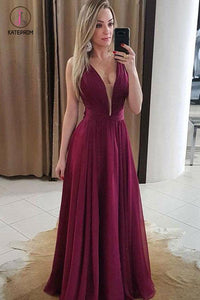 A Line Sexy V Neck Chiffon Prom Dress with Pleats, Floor Length Bridesmaid Dresses KPP0625
