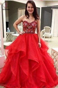 Red Sweetheart Embroidery Floor-length Prom Dress, Puffy Tulle Asymmetrical Prom Gown KPP0631