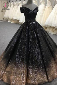 Bling Sequins Black Ball Gown Prom Dresses Off Shoulder Formal Gown Masquerade KPP0634
