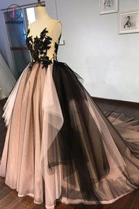 Puffy Sleeveless Tulle Prom Dress with Train, V Neck Long Formal Dresses with Appliques KPP0636