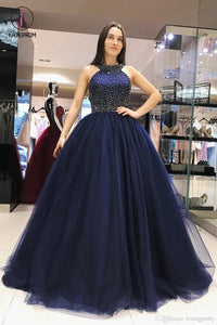 Sparkly Dark Blue Ball Gown Sweet Beading Tulle Long Prom Dresses, Shiny Evening Dress KPP0641