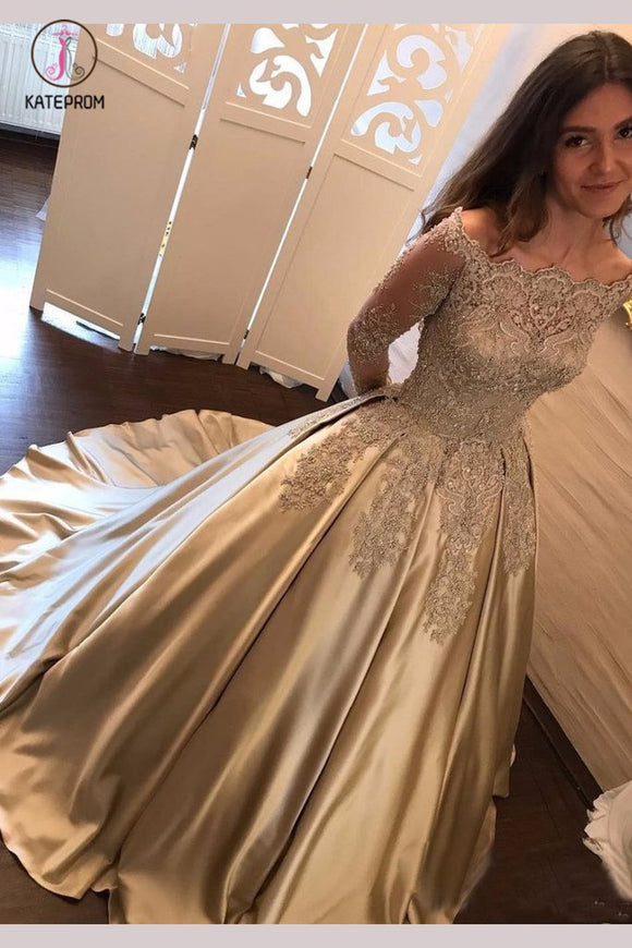 Chic Gold Off Shoulder Long Sleeve Ball Gown Appliques Satin Prom Dress KPP0642