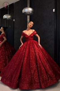 Chic Ball Gown Prom Dress Vintage Cheap Off The Shoulder Red Sequins Prom Dress KPP0643