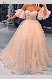 Sparkly Prom Dresses A Line Off-the-shoulder Short Sleeve Floor Length Prom Dress KPP0645