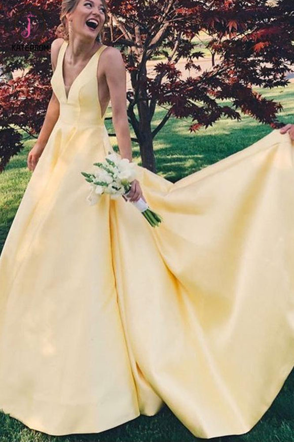 Elegant A Line Yellow V Neck Party Gown Senior Girls Prom Long Dresses with V Back KPP0646