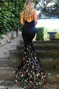Black Mermaid Prom Dress, Spaghetti Strap Sleeveless Evening Dress with Lace Flowers KPP0667