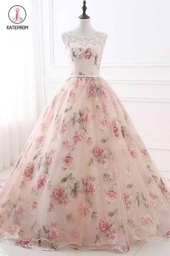 Ball Gown Print Prom Dresses, Lace Up Back Appliques Long Quinceanera Dresses KPP0764
