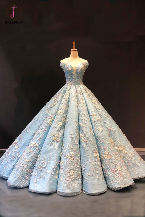 Light Blue Off the Shoulder Ball Gown Quinceanera Dress, Senior Lace Prom Dresses KPP0790