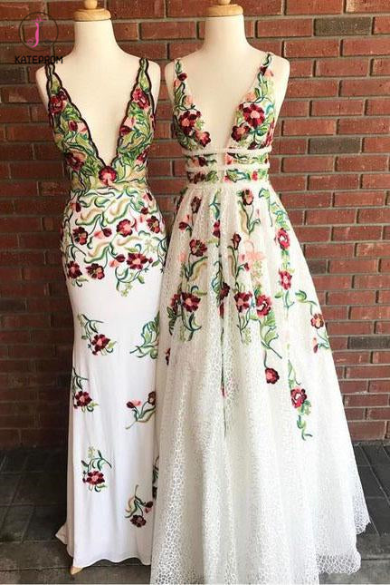 Cheap V Neck Prom Dresses with Sleeveless, Floor Length Formal Dress with Appliques KPP0793