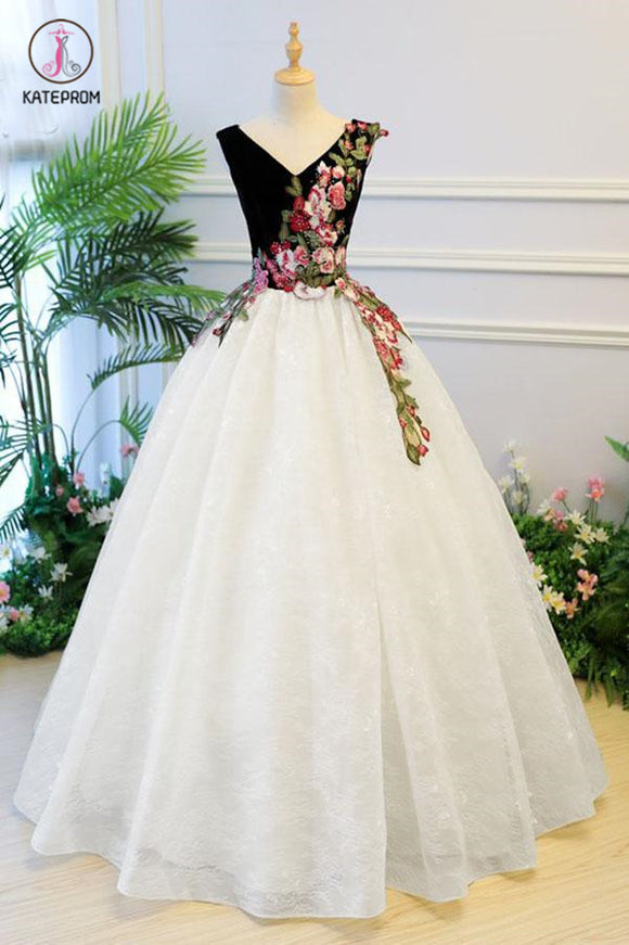 Puffy V Neck Lace Prom Dress with Appliques, Cheap Lace Quinceanera Dress KPP0794