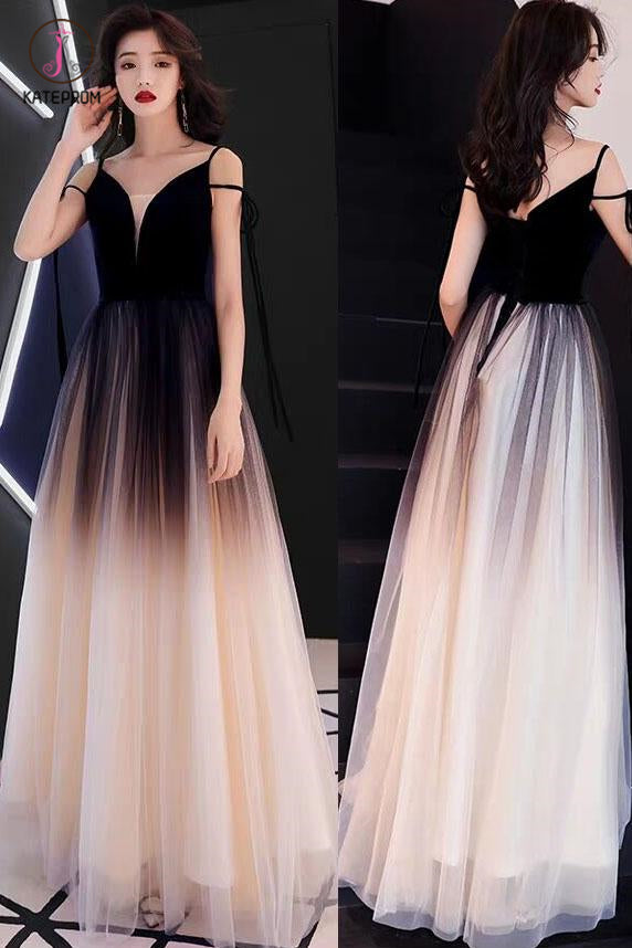 Black Ombre Long Tulle Prom Dress, Unique V Neck Sleeveless Party Dresses, Dance Dress KPP0829