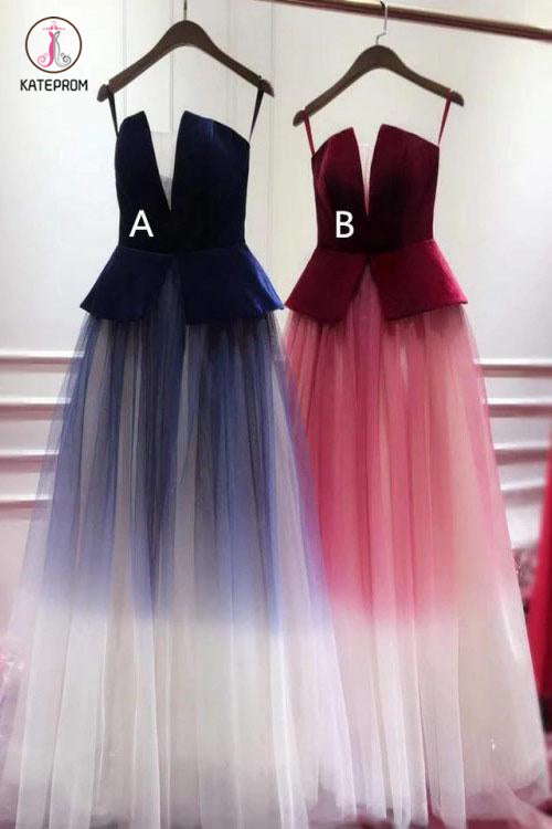Ombre Blue Tulle Long Prom Dress, Unique New Style Strapless Long Evening Dress KPP0831