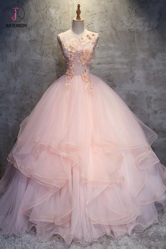 Ball Gown Long Prom Dress with Hand Made Flowers, Gorgeous Quinceanera Dresses KPP0835