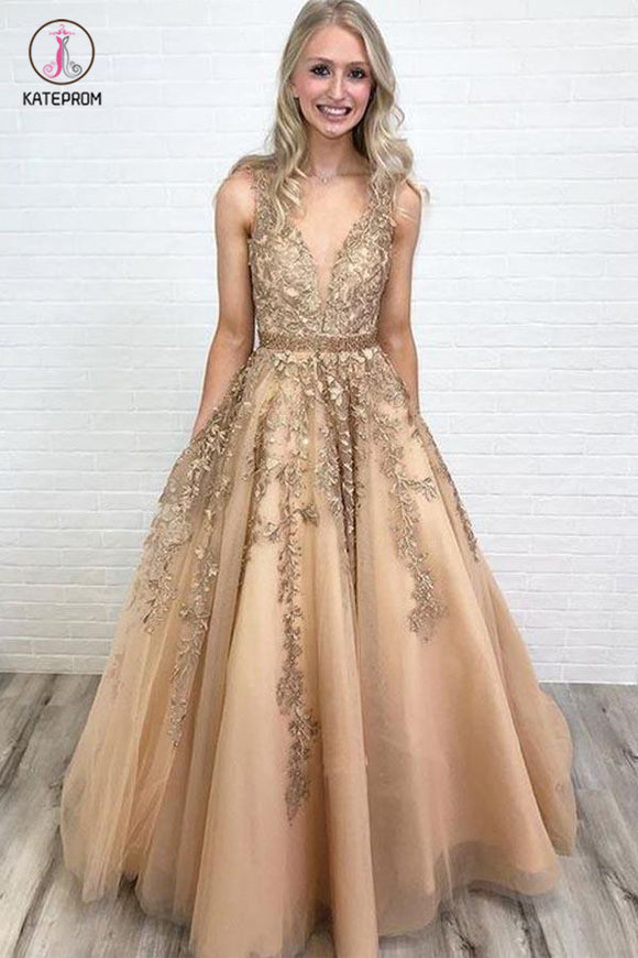 A Line V Neck Tulle Lace Applique Prom Dress with Beading Waist, Puffy Party Dress KPP0837