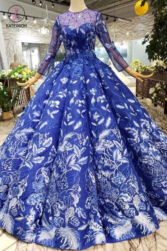 Blue Ball Gown Floral Prom Dress with Long Sleeves, Appliqued Long Quinceanera Dress KPP0851
