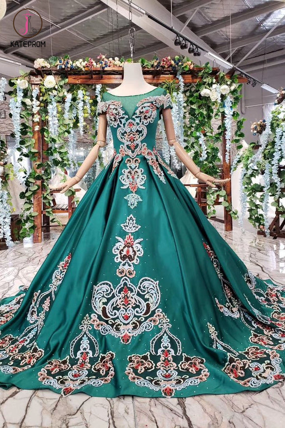 Green Ball Gown Appliqued Prom Dress with Short Sleeves Long Quinceanera Dress with Beading KPP0852