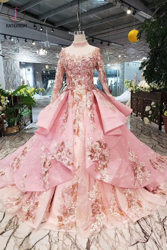 Pink New Prom Dresses Long Sleeves Ball Gown With Applique&Beads Quinceanera Dress KPP0853