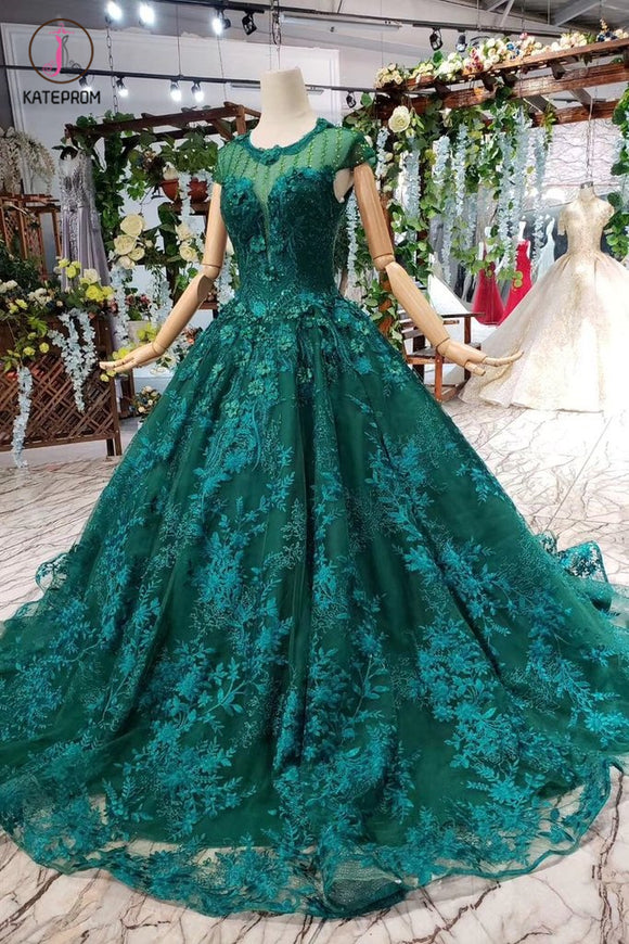 Dark Green Lace Ball Gown Prom Dress With Beads, Quinceanera Dress with Flowers KPP0854