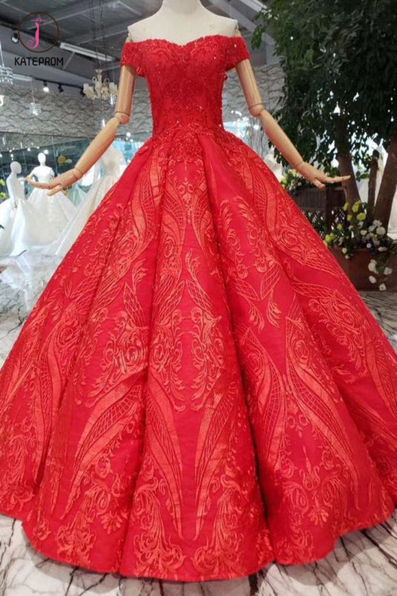 Red Off the Shoulder Puffy Prom Dress, Princess Dress with Lace Appliques Beads KPP0855