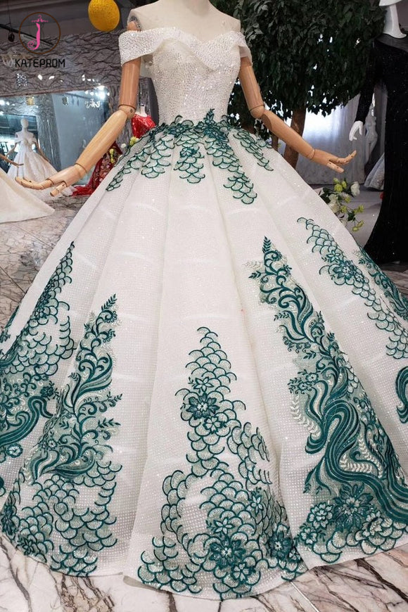 New Arrival Ball Gown Off the Shoulder Prom Dress with Green Appliques, Quinceanera Dress KPP0861