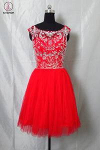 Newest Red Tulle Short Prom Dress Homecoming Dress KPH0039