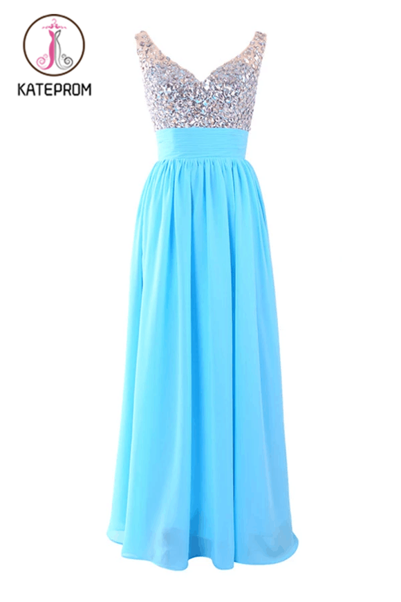 V-neck Chiffon Long Blue Prom/Evening Dress With Beading KPP0122