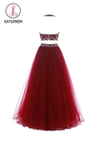 Two Piece Red Floor-Length Backless Tulle Long Prom/Party Dress KPP0124